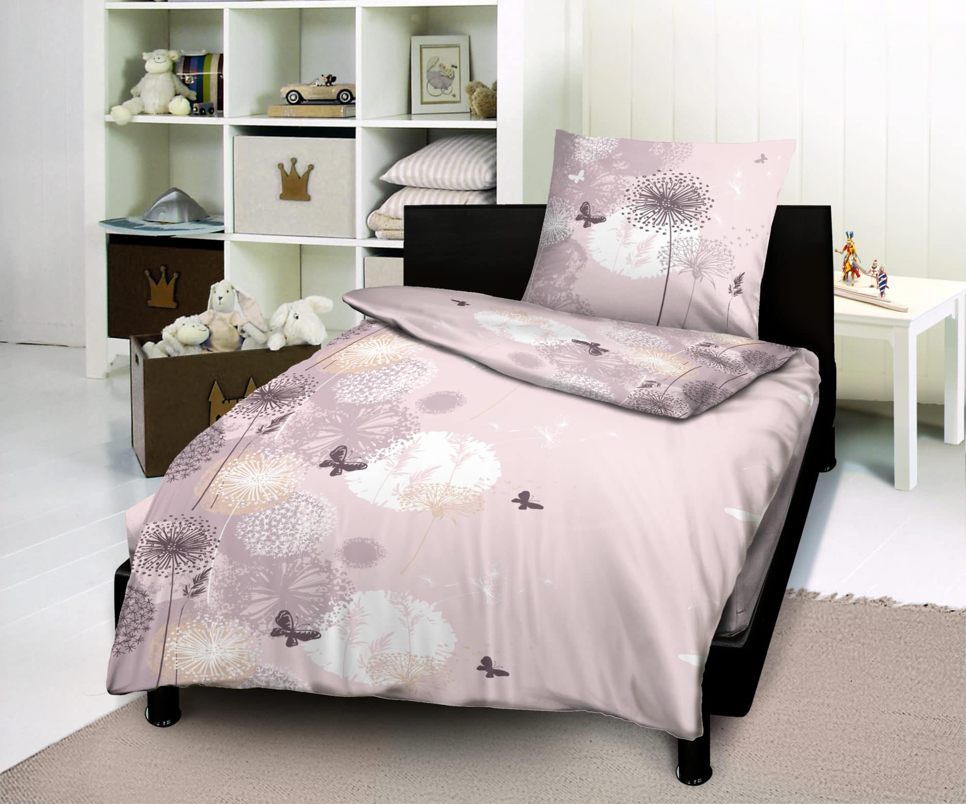 housse de couette 1 place 1 taie butterfly rose. Black Bedroom Furniture Sets. Home Design Ideas