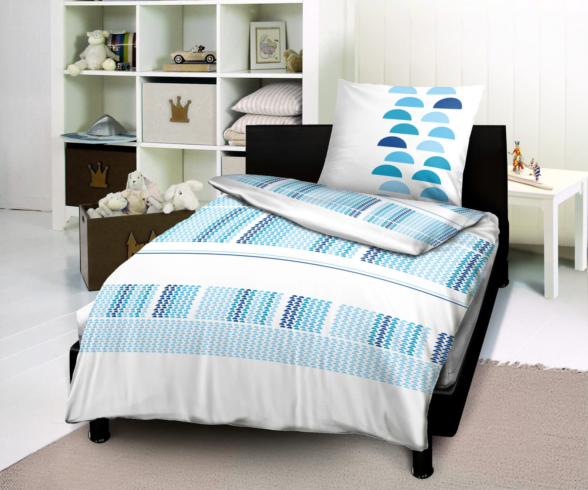housse de couette 1 place 1 taie lugano turquoise. Black Bedroom Furniture Sets. Home Design Ideas