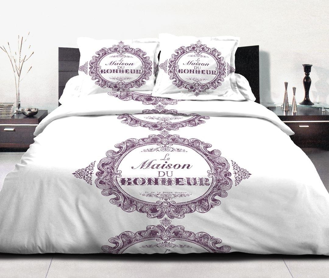 housse de couette 2 taie maison du bonheur lilas. Black Bedroom Furniture Sets. Home Design Ideas