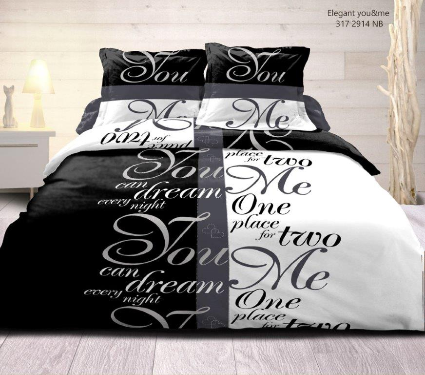 housse de couette 2 taies you me noir et blanc. Black Bedroom Furniture Sets. Home Design Ideas