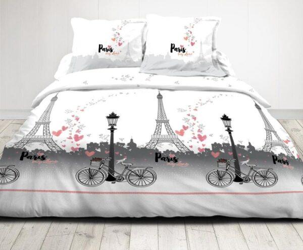 Parure housse de couette 2 places Paris tour eiffel rose